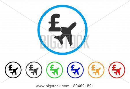Aviation Pound Business rounded icon. Style is a flat aviation pound business gray symbol inside light blue circle with black, gray, green, blue, red, orange variants.