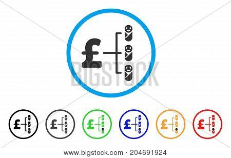 Baby Pound Budget rounded icon. Style is a flat baby pound budget grey symbol inside light blue circle with black, gray, green, blue, red, orange versions.
