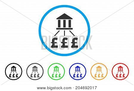 Bank Pound Payments rounded icon. Style is a flat bank pound payments grey symbol inside light blue circle with black, gray, green, blue, red, orange versions.
