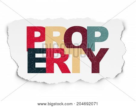 Finance concept: Painted multicolor text Property on Torn Paper background