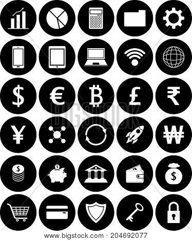 Vector Easy-To-Use 30 White Fintech Flat Icons Including Multiple Currencies On White Background Involving In Financial Technology Banking Saving Transferring And Investment