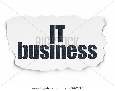 Business concept: Painted black text IT Business on Torn Paper background with  Tag Cloud