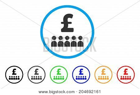 British Business Education rounded icon. Style is a flat british business education gray symbol inside light blue circle with black, gray, green, blue, red, orange color versions.