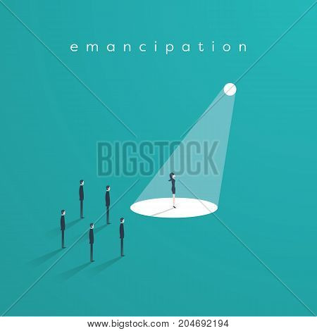Business woman standing in spotlight as a symbol of women emancipation, equal opportunities, feminism and woman leadership. Eps10 vector illustration.