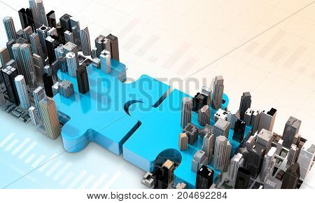 Merger And Acquisition Business Concept, Join Puzzle 3D