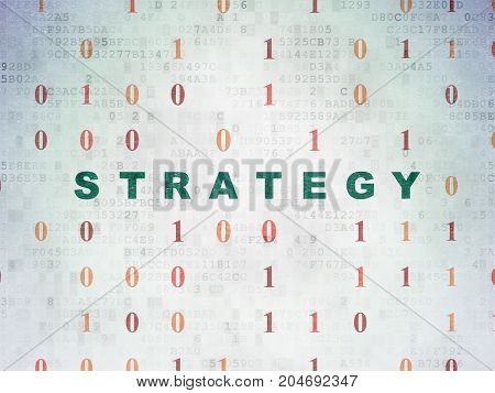 Finance concept: Painted green text Strategy on Digital Data Paper background with Binary Code