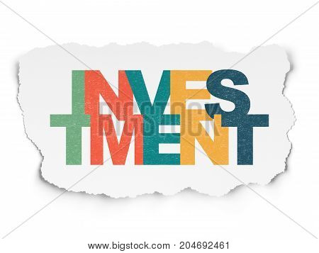 Finance concept: Painted multicolor text Investment on Torn Paper background