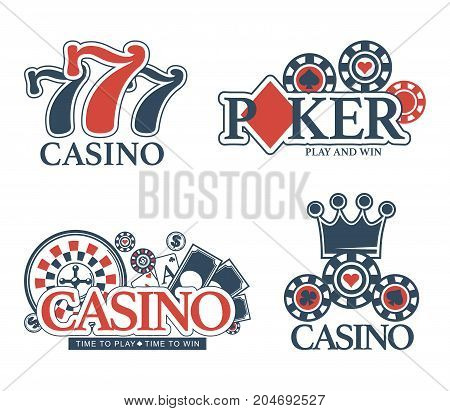 Casino poker logo templates of lucky 7 jackpot, gambling chips and roulette, playing cards or royal crown. Vector isolated set for casino gamble and win game label design