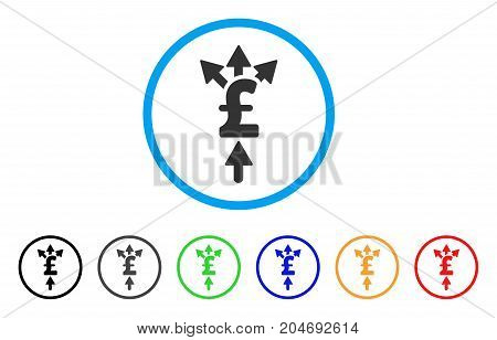 Divide Pound Payment rounded icon. Style is a flat divide pound payment gray symbol inside light blue circle with black, gray, green, blue, red, orange variants.