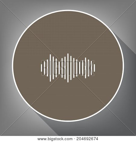 Sound waves icon. Vector. White icon on brown circle with white contour and long shadow at gray background. Like top view on postament.