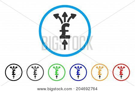 Divide Pound Payments rounded icon. Style is a flat divide pound payments gray symbol inside light blue circle with black, gray, green, blue, red, orange versions.