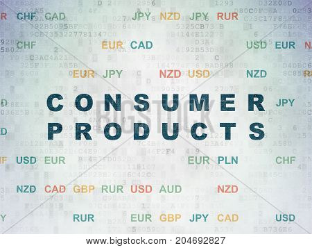 Business concept: Painted blue text Consumer Products on Digital Data Paper background with Currency