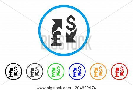 Dollar Pound Exchange rounded icon. Style is a flat dollar pound exchange grey symbol inside light blue circle with black, gray, green, blue, red, orange versions.
