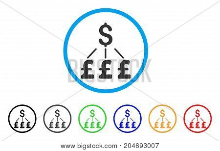 Dollar Pound Links Pound rounded icon. Style is a flat dollar pound links pound grey symbol inside light blue circle with black, gray, green, blue, red, orange variants.