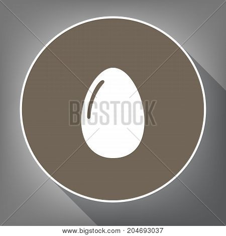 Chicken egg sign. Vector. White icon on brown circle with white contour and long shadow at gray background. Like top view on postament.