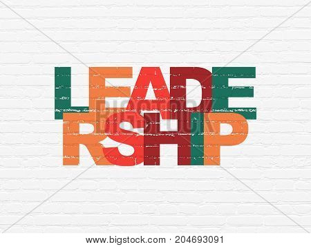 Finance concept: Painted multicolor text Leadership on White Brick wall background