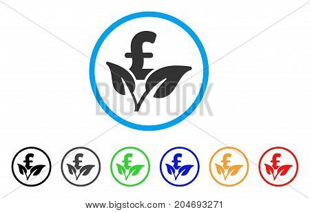 Eco Pound Business Startup rounded icon. Style is a flat eco pound business startup grey symbol inside light blue circle with black, gray, green, blue, red, orange color versions.