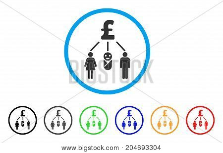 Family Pound Budget rounded icon. Style is a flat family pound budget gray symbol inside light blue circle with black, gray, green, blue, red, orange variants.