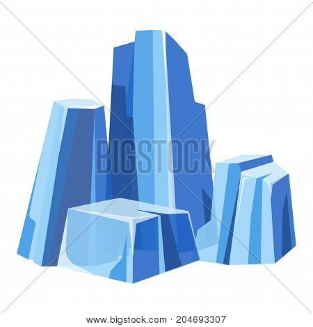 Cold massive transparent glaciers with blue tint isolated cartoon flat vector illustration on white background. Cold ice in natural uncut shape from North pole. Frozen water in form of small rocks.