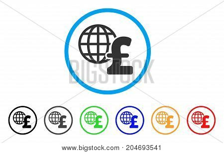 Global Pound Economics rounded icon. Style is a flat global pound economics gray symbol inside light blue circle with black, gray, green, blue, red, orange versions.