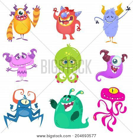 Cartoon Monsters. Vector set of cartoon monsters isolated. Design for print party decoration t-shirt illustration logo emblem or sticker