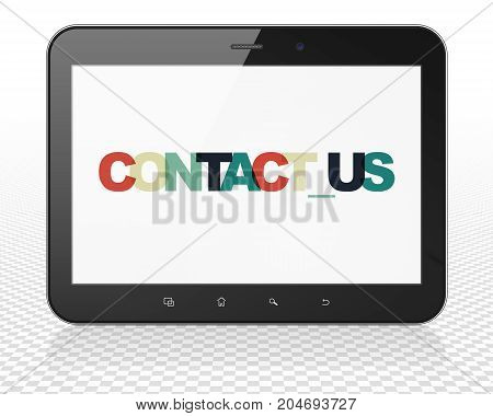 Business concept: Tablet Pc Computer with Painted multicolor text Contact us on display, 3D rendering