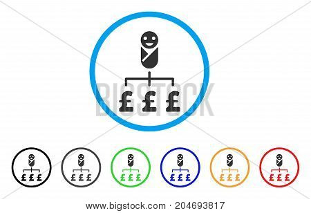 Kid Pound Expenses rounded icon. Style is a flat kid pound expenses grey symbol inside light blue circle with black, gray, green, blue, red, orange color versions.