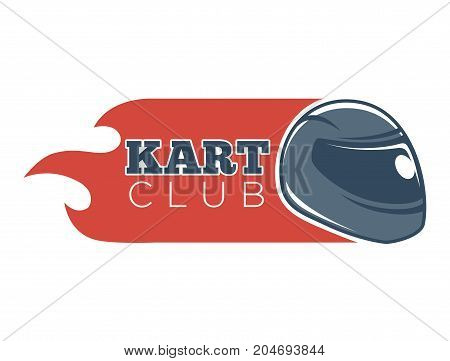 Kart club logo template for karting races competition and tournament. Vector isolated icon of racer driver helmet and fire flame flag