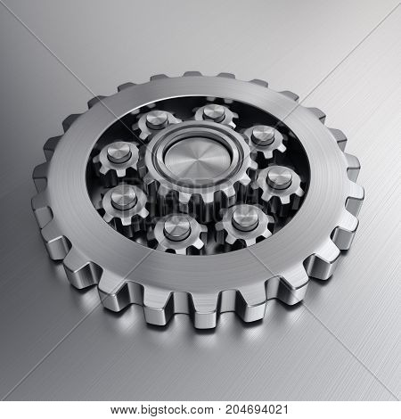 3d rendering high quality metallic shiny gears
