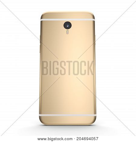 3D rendering gold smart phone with black screen isolated on white background