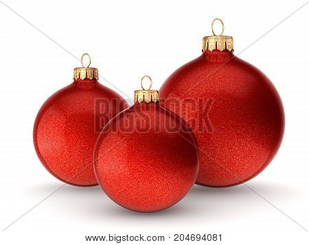 3D Rendering Red Christmas Balls