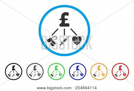 Medical Pound Budget rounded icon. Style is a flat medical pound budget gray symbol inside light blue circle with black, gray, green, blue, red, orange color versions.