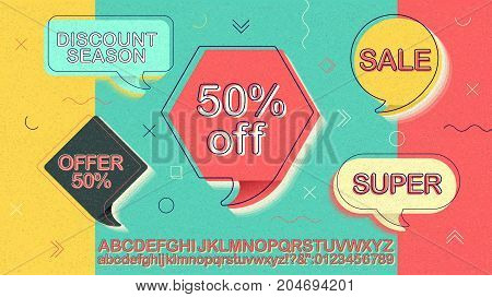 Special offer. Sale banner, 50% off. Super sale offer. Discount season. Alphabet template easy editable for design. Symbol for advertising campaign in retail, promo marketing, ad offer on shopping day