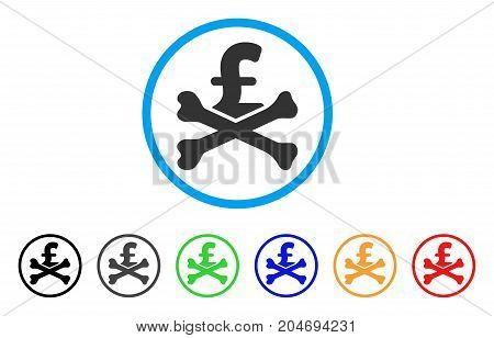 Mortal Pound Debt rounded icon. Style is a flat mortal pound debt grey symbol inside light blue circle with black, gray, green, blue, red, orange versions.