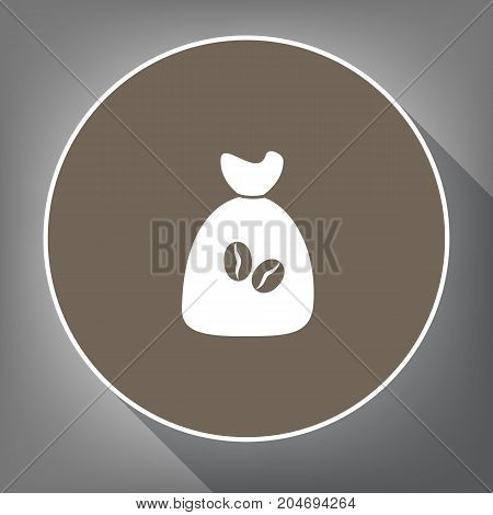 Coffee bag Icon. Coffee bag. Vector. Coffee bag Icon Button. Vector. White icon on brown circle with white contour and long shadow at gray background. Like top view on postament.