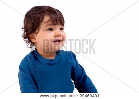 Beautiful And Happy Baby On White Background, Studio Shot
