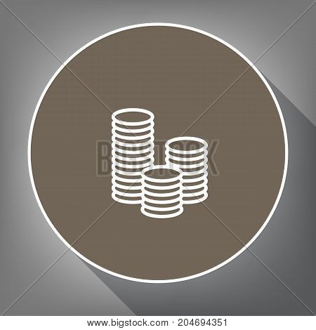 Money sign illustration. Vector. White icon on brown circle with white contour and long shadow at gray background. Like top view on postament.