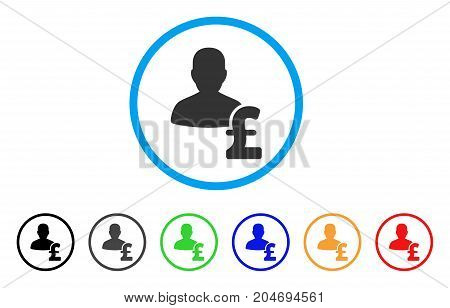 Person Pound Loan rounded icon. Style is a flat person pound loan gray symbol inside light blue circle with black, gray, green, blue, red, orange color versions.