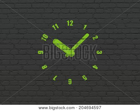 Timeline concept: Painted green Clock icon on Black Brick wall background