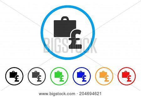 Pound Accounting rounded icon. Style is a flat pound accounting gray symbol inside light blue circle with black, gray, green, blue, red, orange variants.