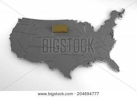 United States of America, 3d metallic map, whith south Dakota state highlighted. 3d render