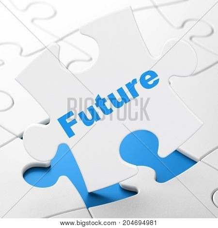 Time concept: Future on White puzzle pieces background, 3D rendering