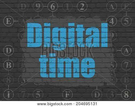 Timeline concept: Painted blue text Digital Time on Black Brick wall background with Scheme Of Hexadecimal Code