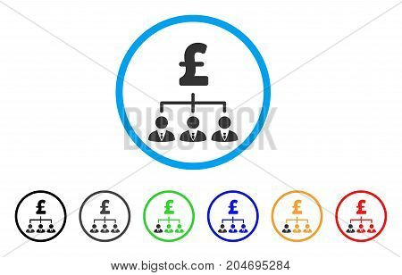 Pound Banker Links rounded icon. Style is a flat pound banker links gray symbol inside light blue circle with black, gray, green, blue, red, orange variants.