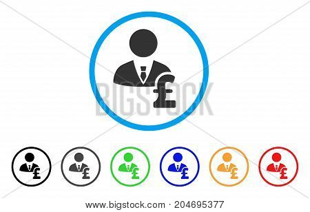 Pound Banker rounded icon. Style is a flat pound banker grey symbol inside light blue circle with black, gray, green, blue, red, orange variants. Vector designed for web and software interfaces.