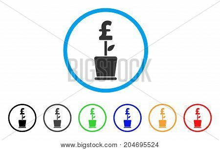 Pound Business Project Plant rounded icon. Style is a flat pound business project plant gray symbol inside light blue circle with black, gray, green, blue, red, orange variants.
