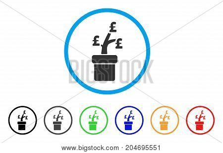Pound Business Project Plant rounded icon. Style is a flat pound business project plant grey symbol inside light blue circle with black, gray, green, blue, red, orange variants.
