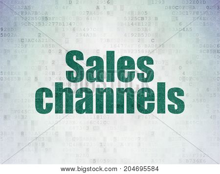 Advertising concept: Painted green word Sales Channels on Digital Data Paper background