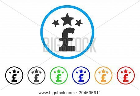 Pound Business Stars rounded icon. Style is a flat pound business stars grey symbol inside light blue circle with black, gray, green, blue, red, orange versions.