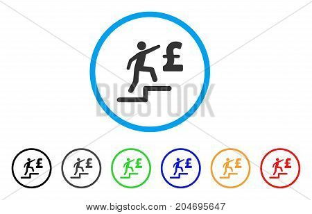 Pound Business Steps rounded icon. Style is a flat pound business steps grey symbol inside light blue circle with black, gray, green, blue, red, orange color versions.